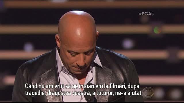 Lacrimi si emotie la premiile People's Choice. Omagiul adus de Vin Diesel actorului Paul Walker