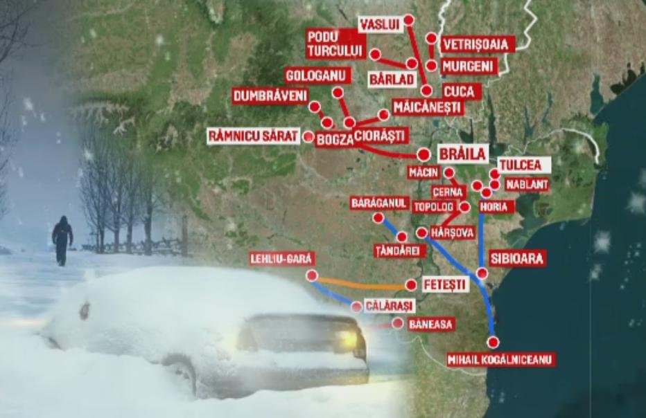 STAREA DRUMURILOR. Circulatia este inchisa pe 11 drumuri nationale, iar ceata ingreuneaza traficul pe A1, A2 si A3