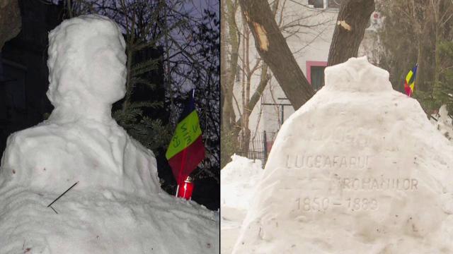 Statuia din zapada a lui Mihai Eminescu, din Galati, a fost decapitata. Sculptor: