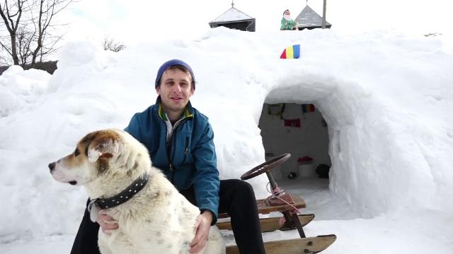 Troiene de 2 metri în Cavnic. Localnicii au început să-și construiască igluuri