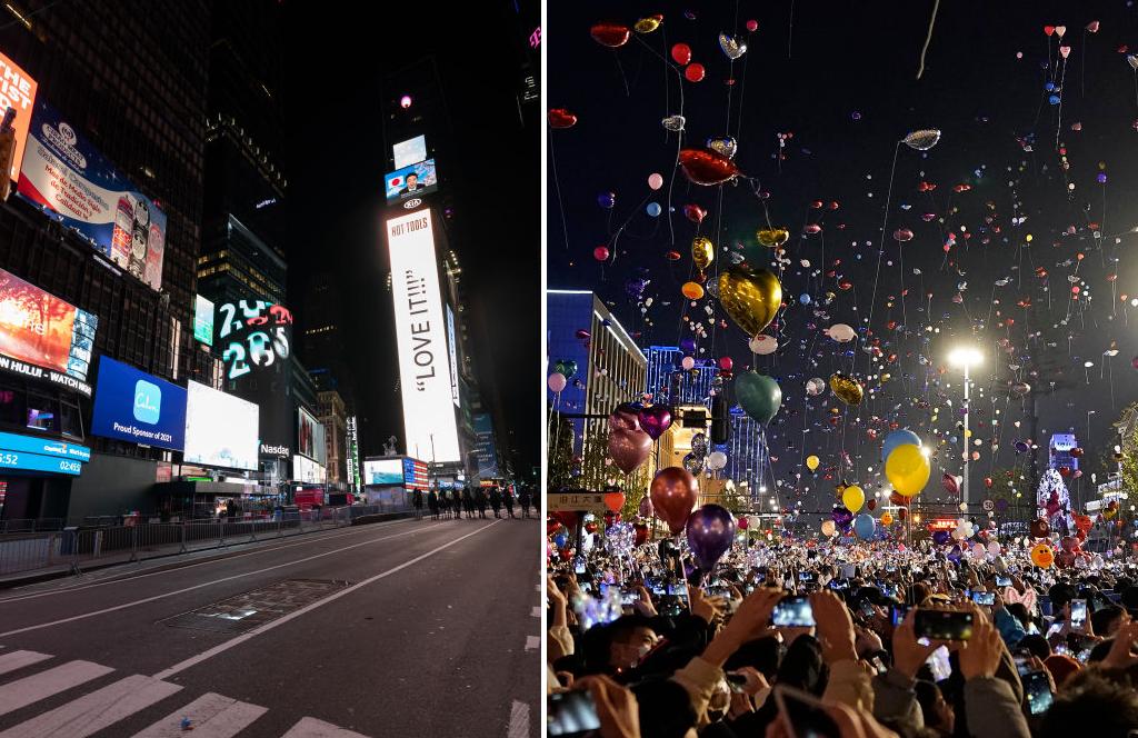 Revelion în contraste: Times Square aproape pustie - Petrecere cu mii de oameni la Wuhan