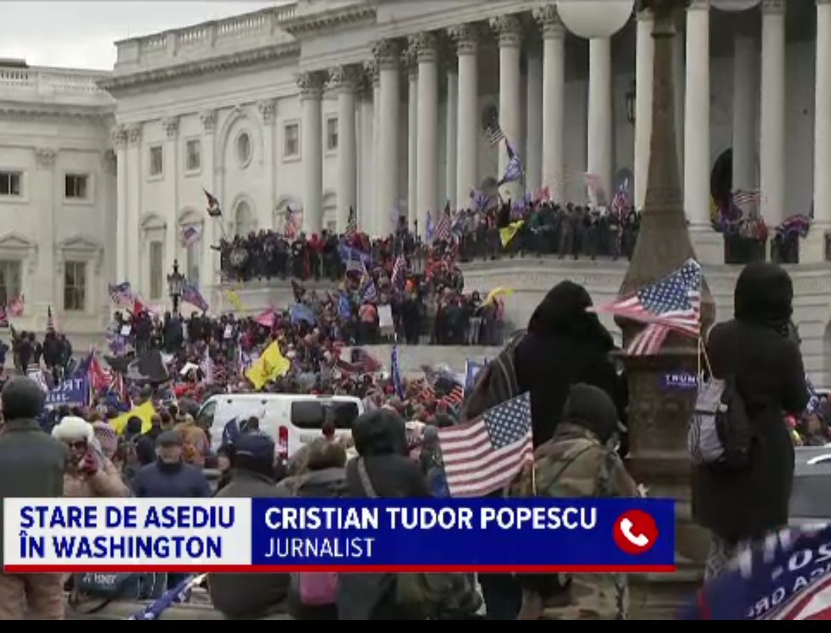 """Cristian Tudor Popescu, despre """"lovitura de stat"""" din SUA. Seamănă cu mineriadele"""