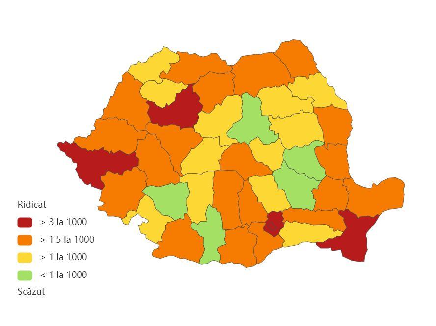 Județele cu cele mai multe cazuri noi de COVID-19. Bucureşti - 477; urmează Timiş, Cluj, Maramureş