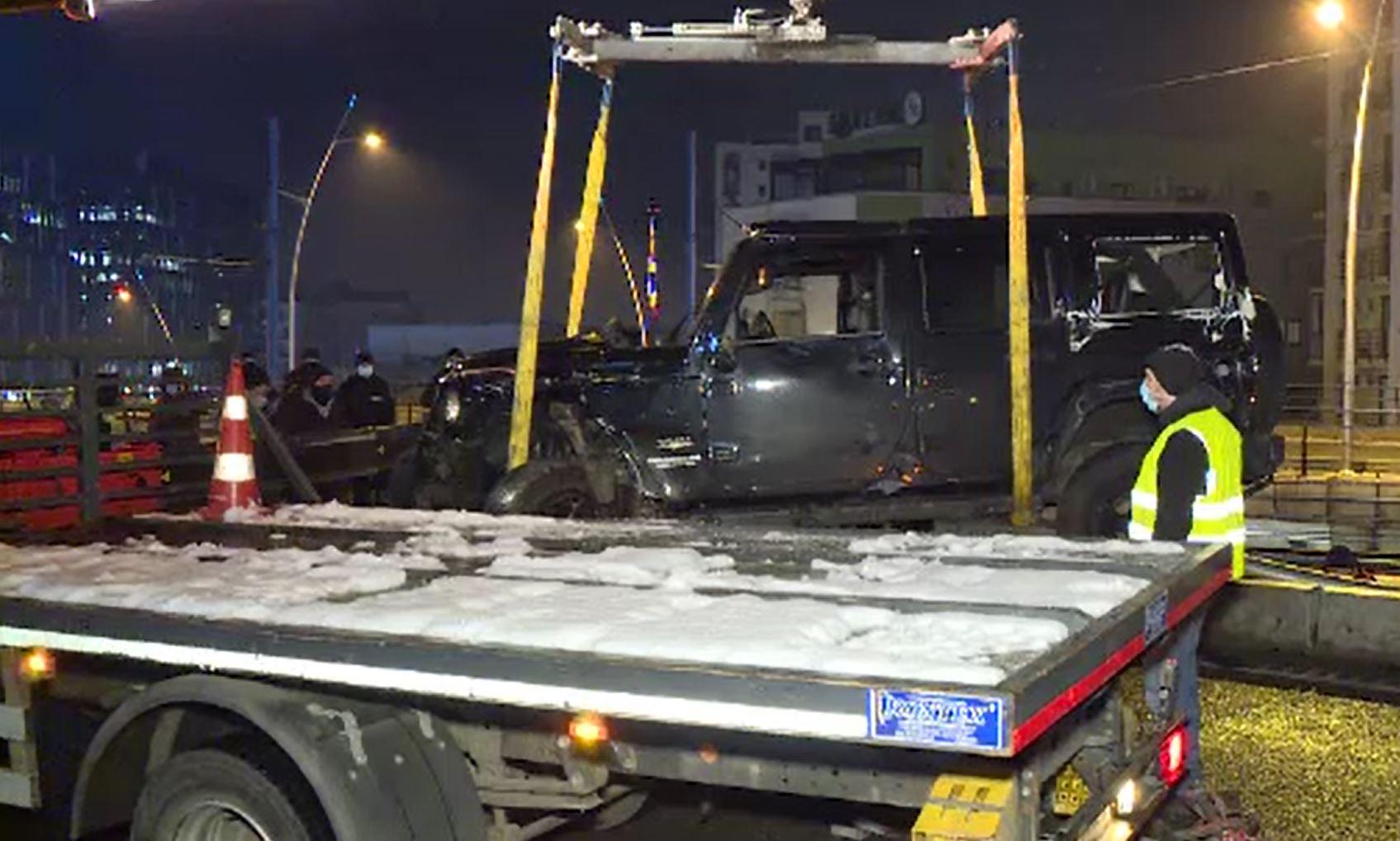 Blocaj rutier la podul Basarab din Capitală, după ce un șofer a pierdut controlul volanului