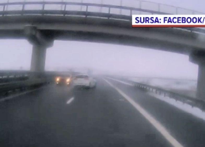 Șofer filmat mergând cu viteză pe contrasens, pe autostrada Gilău -Turda. Ce explicaţie a dat