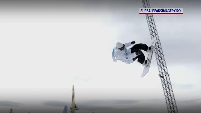 Concurs spectaculos în Păltiniș. Concurenții au făcut sărituri pe snowboard sau pe schiuri
