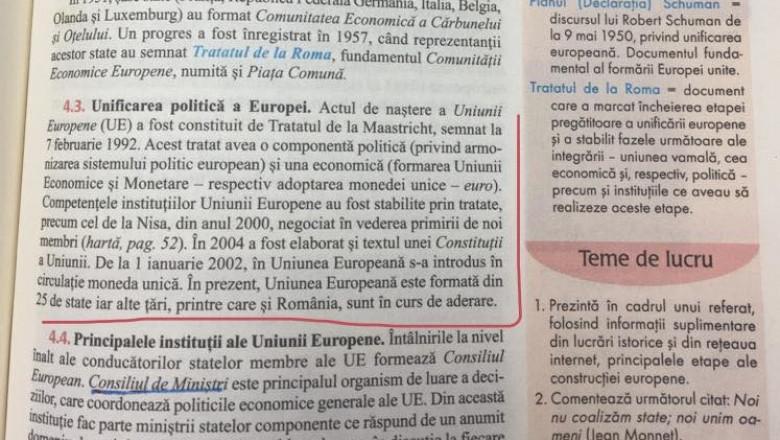 În România, elevii de liceu învață că țara noastră NU este în Uniunea Europeană