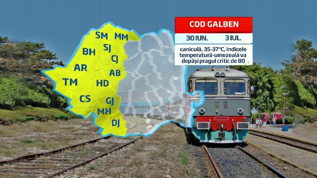 Codul galben de canicula da peste cap circulatia pe calea ferata. Intarzieri de zeci de minute