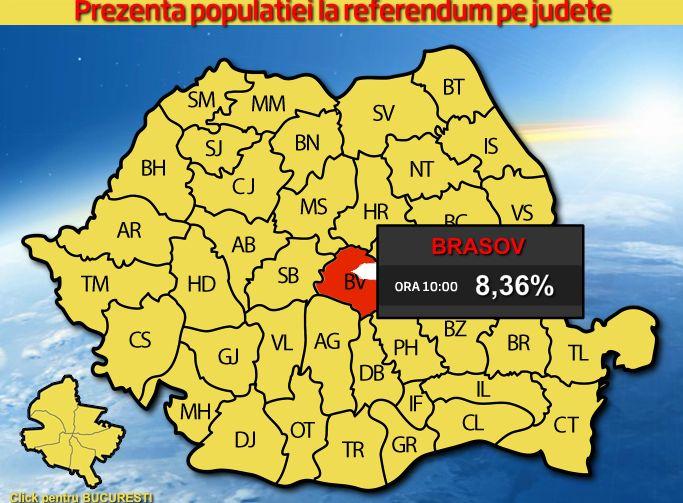 REFERENDUM 2012. Prezenta la vot la ora 23.00 a fost de 45,92 %, potrivit BEC. HARTA INTERACTIVA