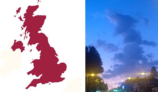 Nori in forma de harta si de Chewbacca pe cerul Marii Britanii. FOTO