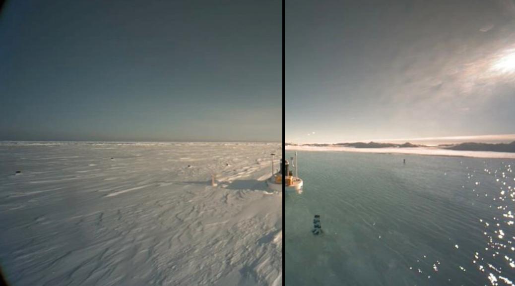 Polul Nord s-a transformat intr-un lac imens : imaginile care arata cum a ajuns