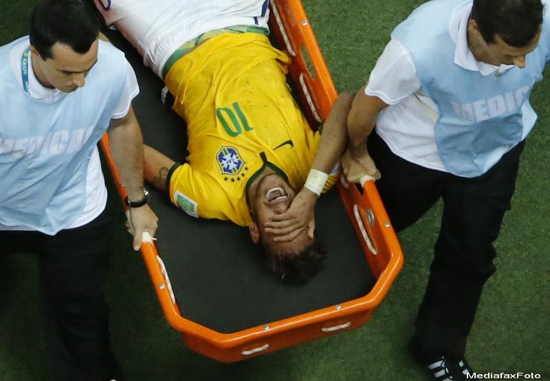CAMPIONATUL MONDIAL DE FOTBAL 2014. Brazilia, in semifinale. Momentul dramatic in care Neymar si-a fracturat o vertebra