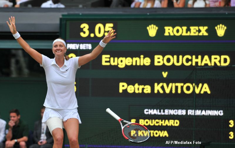 WIMBLEDON 2014. Petra Kvitova a invins-o in finala pe Eugenie Bouchard, scor 6-3; 6-0