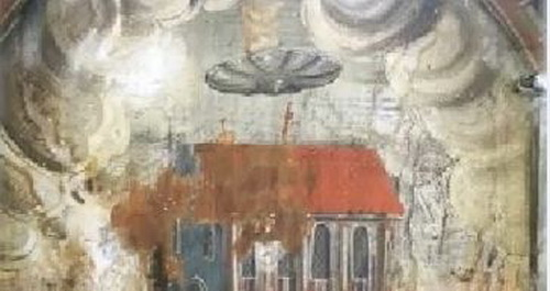 Pictura murala misterioasa in Biserica Manastirii din Sighisoara. De ce cred multi ca este vorba despre un OZN