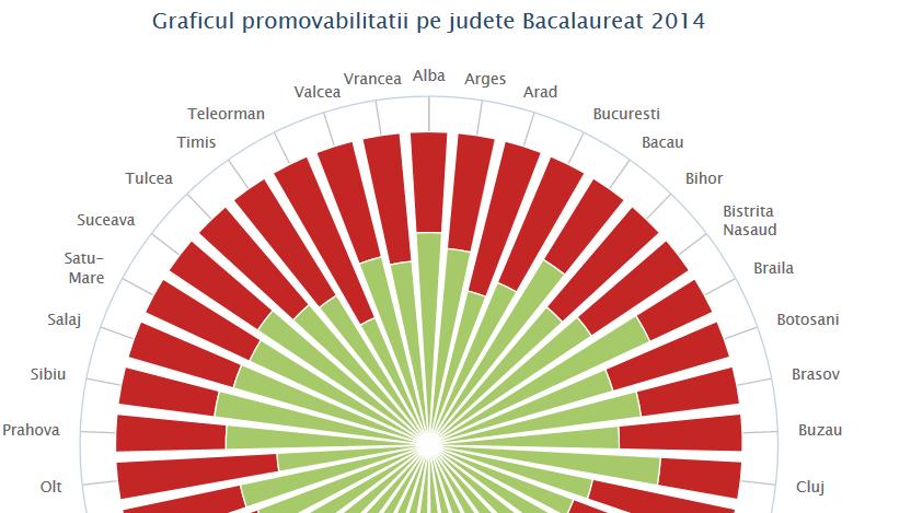 INFOGRAFIC INTERACTIV. Care este rata de promovare la BACALAUREAT 2014 pe judete. Situatia contestatiilor in tara
