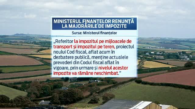 Noul proiect al Codului Fiscal: Ministerul Finantelor renunta la majorarea impozitelor pe masini, terenuri si case