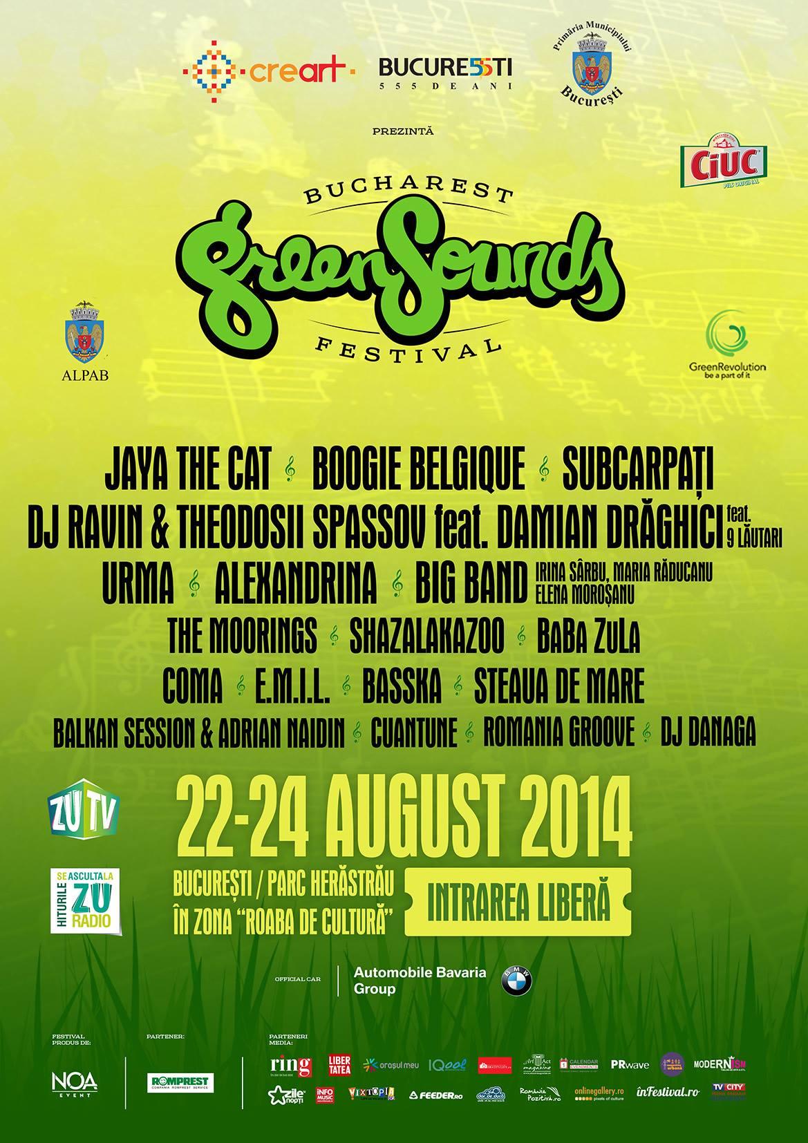 Prima editie a festivalului Bucharest GreenSounds are loc in Parcul Herastrau: Subcarpati, Alexandrina, Coma, Urma, E.M.I.L