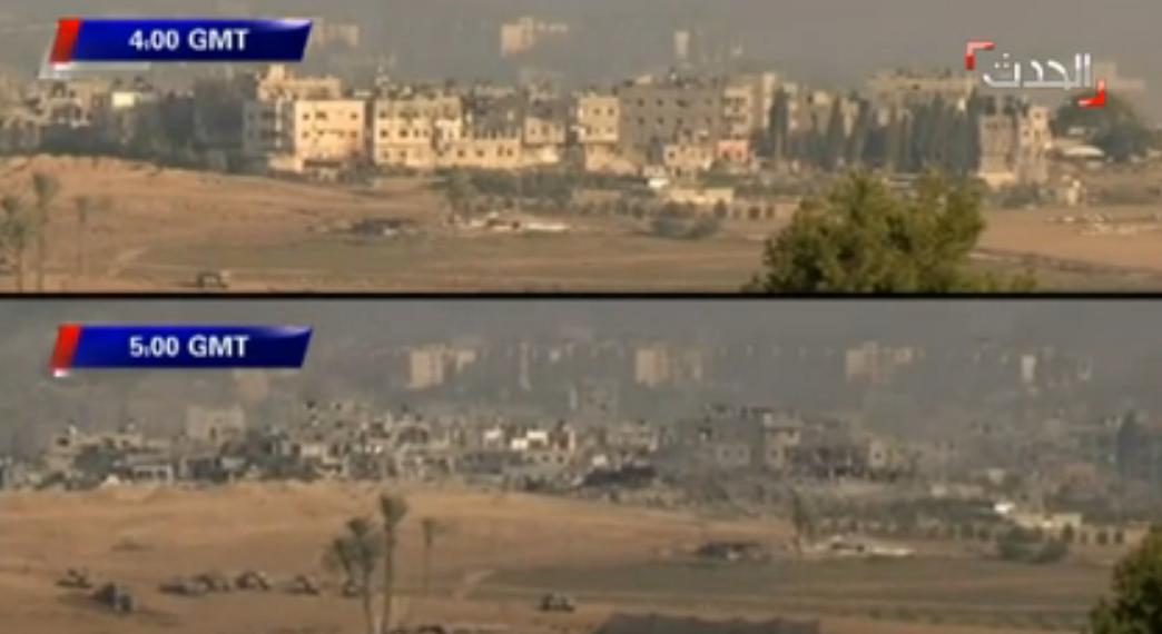 Cum arata un cartier al unui oras din Fasia Gaza dupa o ora de bombardamente. VIDEO