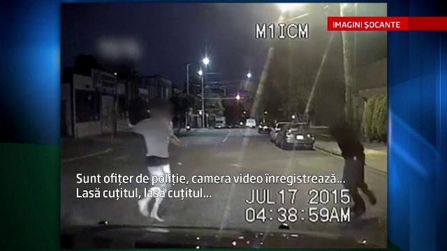 Scene dramatice in Seattle. Momentul in care un politist impusca mortal un suspect violent, inarmat cu un cutit