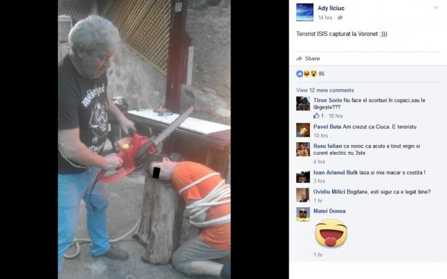Poza cu un consilier local din Suceava ce simuleaza o executie in stilul ISIS, pe Facebook. PNL vrea sa-l excluda din partid