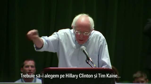 Sustinatorii lui Bernie Sanders l-au fluierat si l-au luat peste picior cand i-a indemnat sa o sprijine pe Hillary Clinton