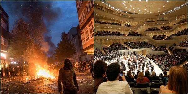 Scene ireale in Hamburg. Liderii G20 rasfatati cu Beethoven in timp ce afara erau batai de strada pe muzica lui Jimi Hendrix