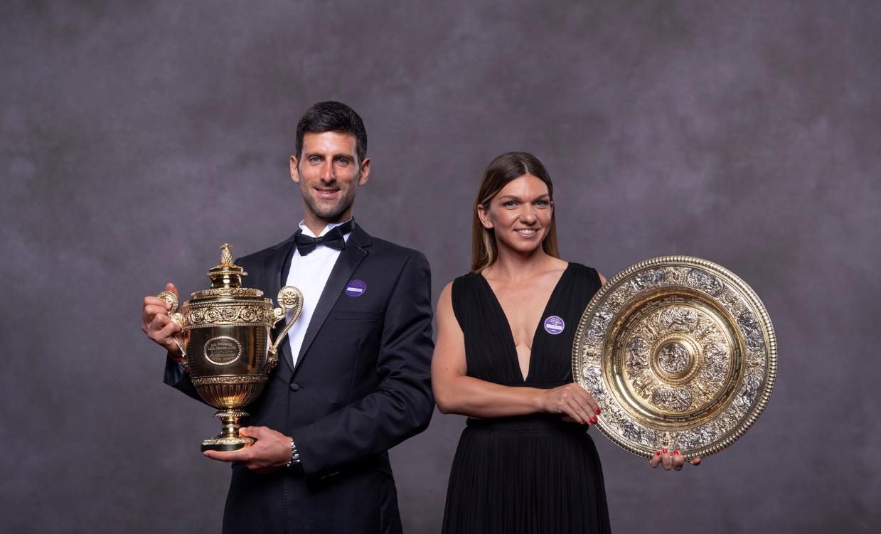 Simona Halep, alături de Novak Djokovici la Balul Campionilor de la Wimbledon