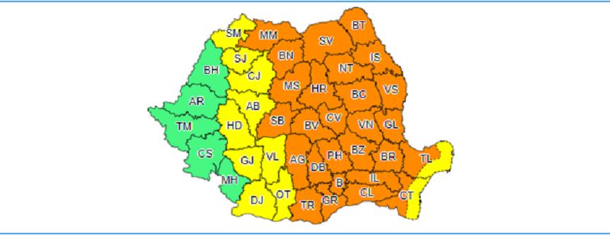 Cod portocaliu de vijelii puternice în cea mai mare parte a țării, până vineri dimineaţă