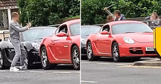 VIDEO. Tânăr filmat când zdrobește un Porsche de peste 90.000 de euro cu o unealtă metalică