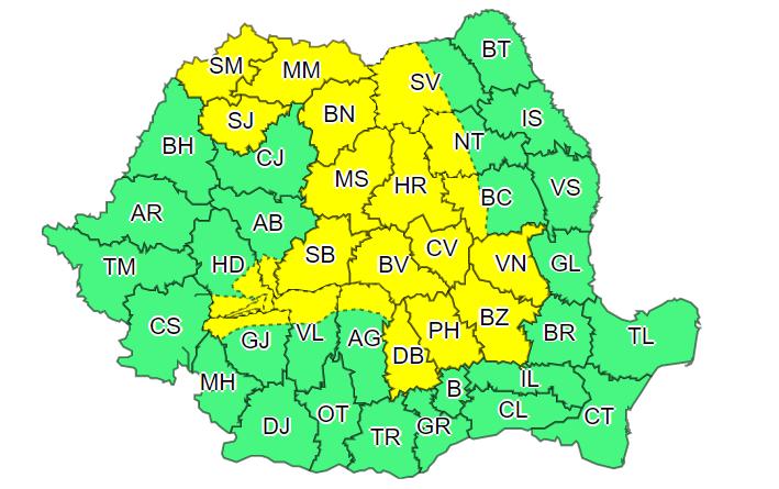 ANM: Cod galben de instabilitate atmosferică în mai multe zone ale țării