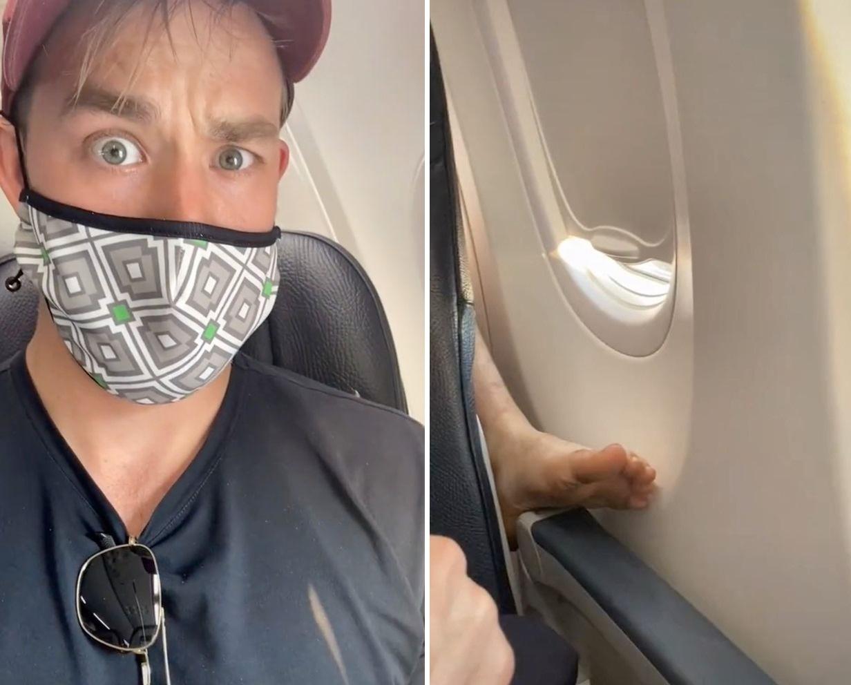 VIDEO. Ce a făcut un tânăr când pasagerul din spate și-a pus piciorul pe scaunul său