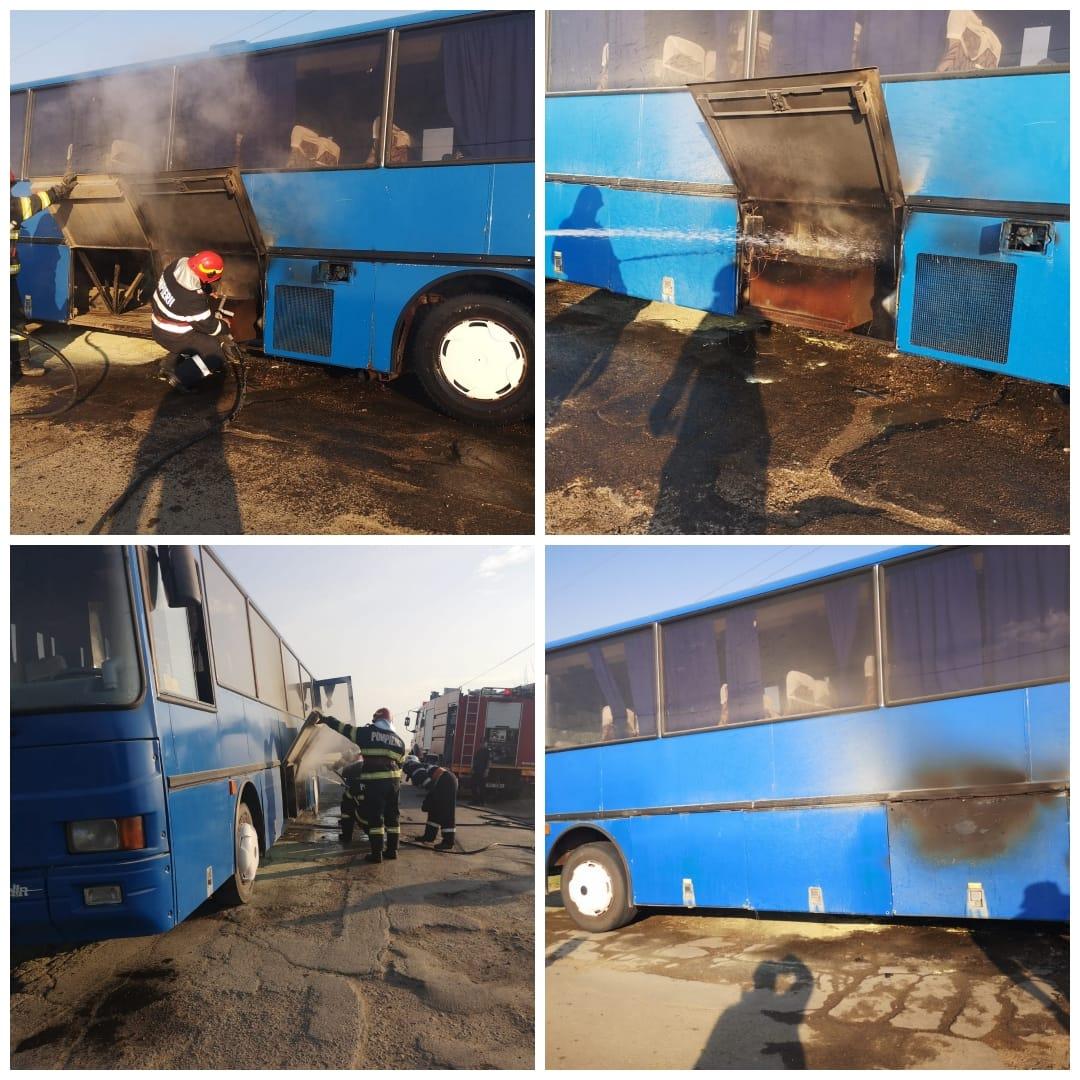 Un autocar în care se aflau peste 20 de elevi a luat foc, în Botoșani