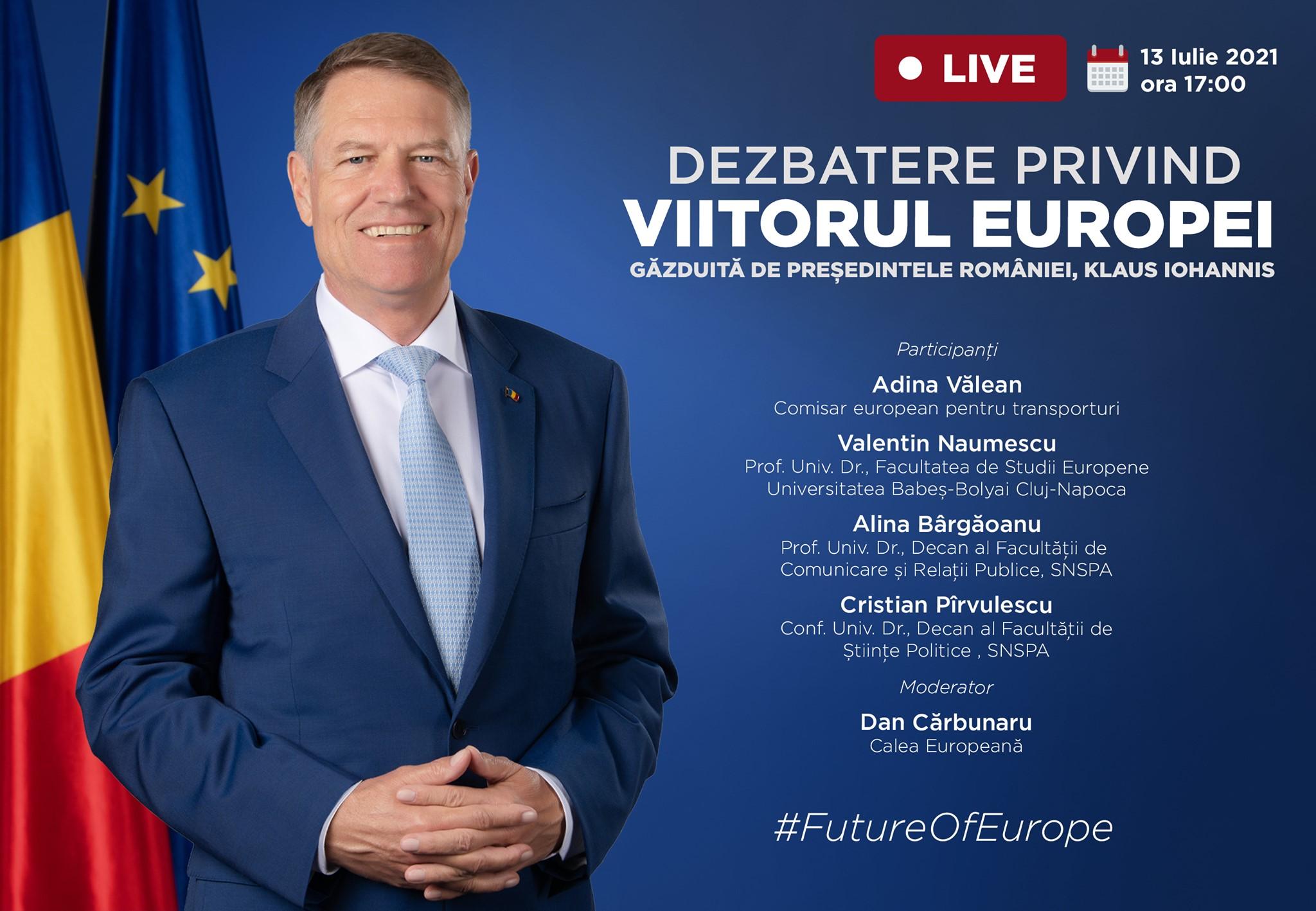 Lansarea oficială a dezbaterii naționale privind viitorul Europei, găzduită de Iohannis. Unde o poți urmări