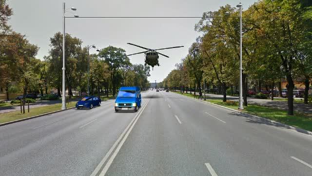 ANIMAȚIE GRAFICĂ. Momentul în care elicopterul militar a ajuns deasupra mașinilor și a rupt stâlpii