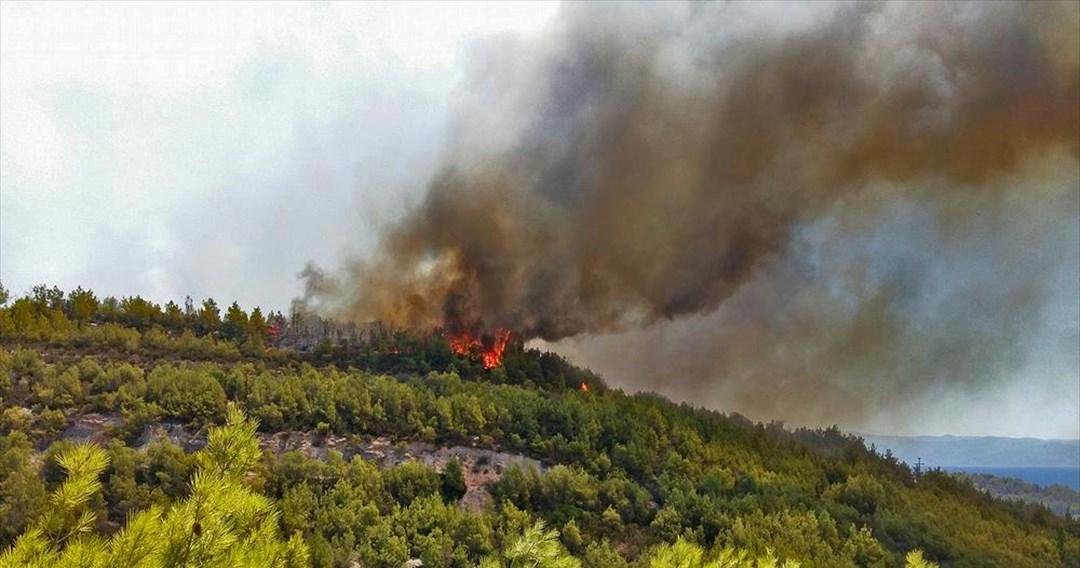 Mai multe hoteluri de pe insula grecescă Samos, evacuate din cauza unui incendiu major. VIDEO