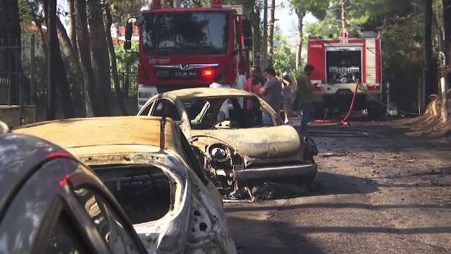 Pompierii sunt în alertă într-o suburbie la nord de Atena, unde un incendiu a ars o pădure
