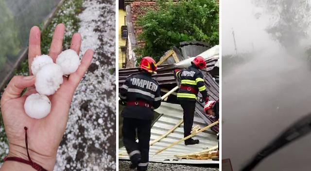 Furtunile au făcut ravagii în țară: Culturi distruse de grindina cât oul și acoperișuri proiectate pe mașini