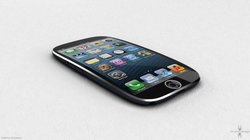 iPhone 5S Concept cu ecran curbat si amprenta digitala in locul butonului