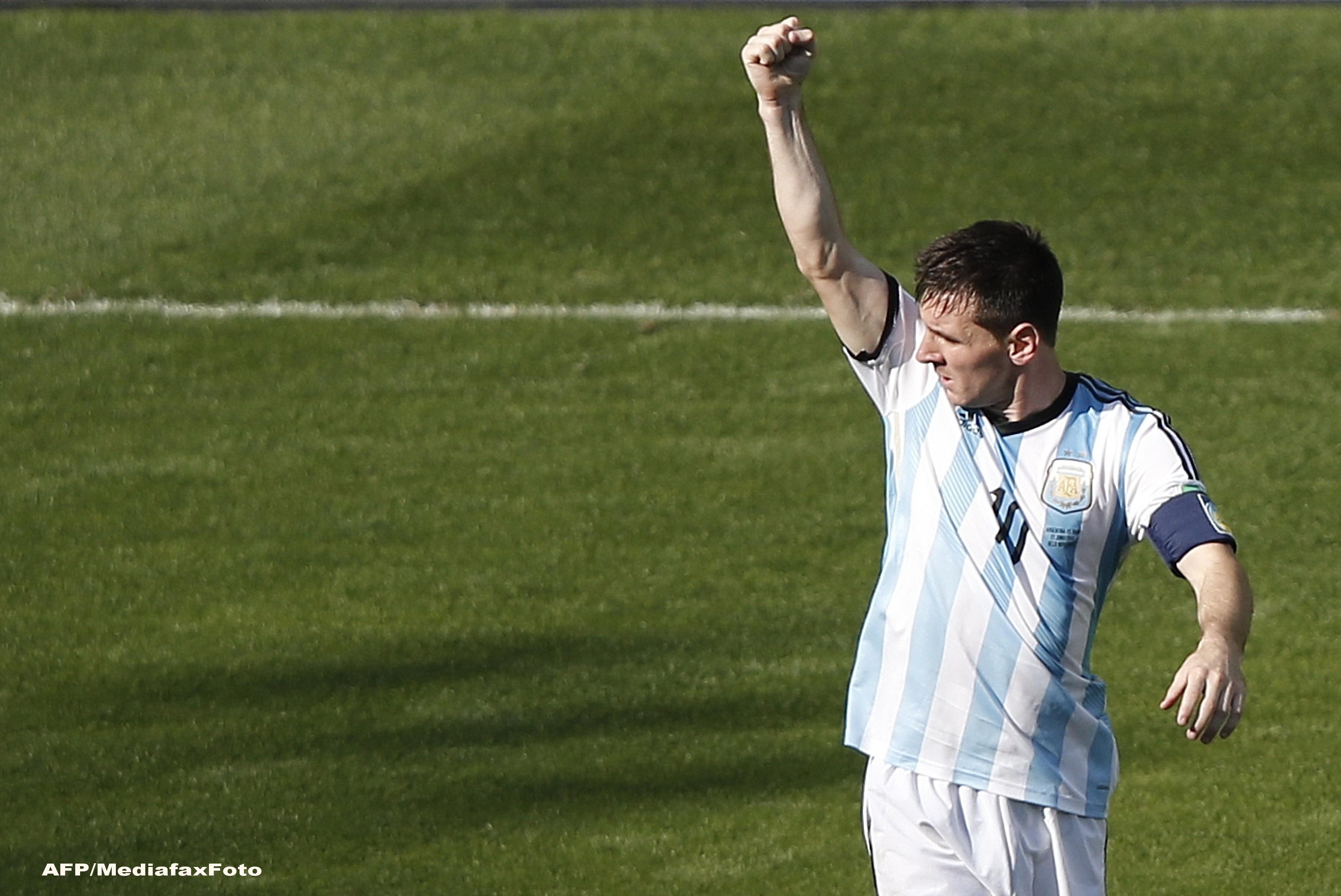 Campionatul Mondial de Fotbal 2014. Argentina abia a reusit sa invinga Iran cu 1-0, in minutul 91. Messi, eroul meciului