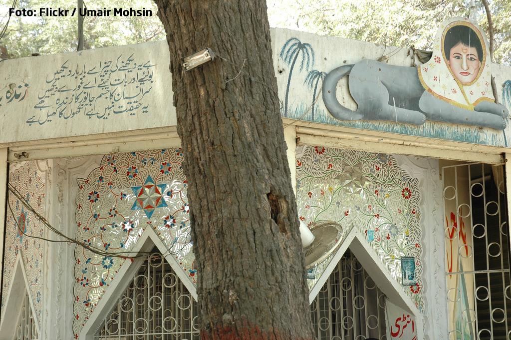 Om deghizat in vulpe, inchis in cusca la gradina zoologica din Karachi.