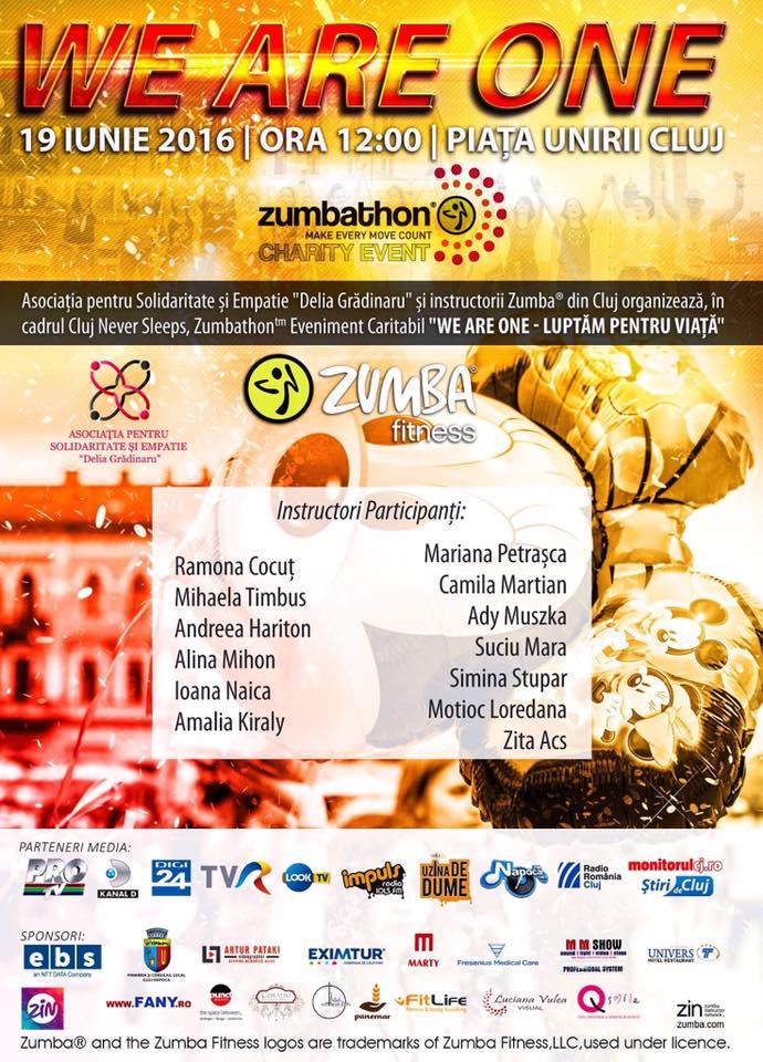 Zumbathon caritabil. Clujenii sunt invitati in acest weekend sa danseze in Piata Unirii pentru copiii dependenti de dializa