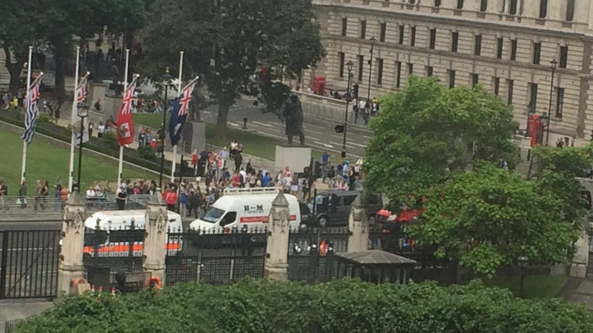 Alerta in fata Parlamentului britanic. Un barbat inarmat cu un cutit a fost pus la pamant de politisti. VIDEO