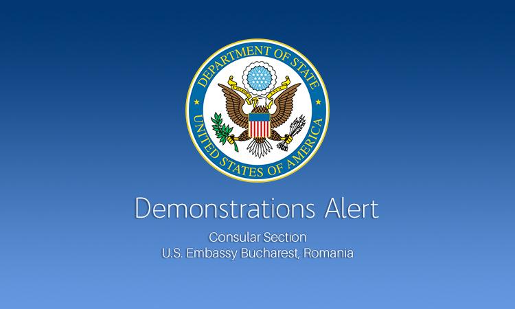 Ambasada SUA a emis o alertă de securitate pentru cetățenii americani, din cauza mitingurilor din Capitală