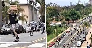 Imagini impresionante. Mii de americani au manifestat pe skateboard împotriva rasismului