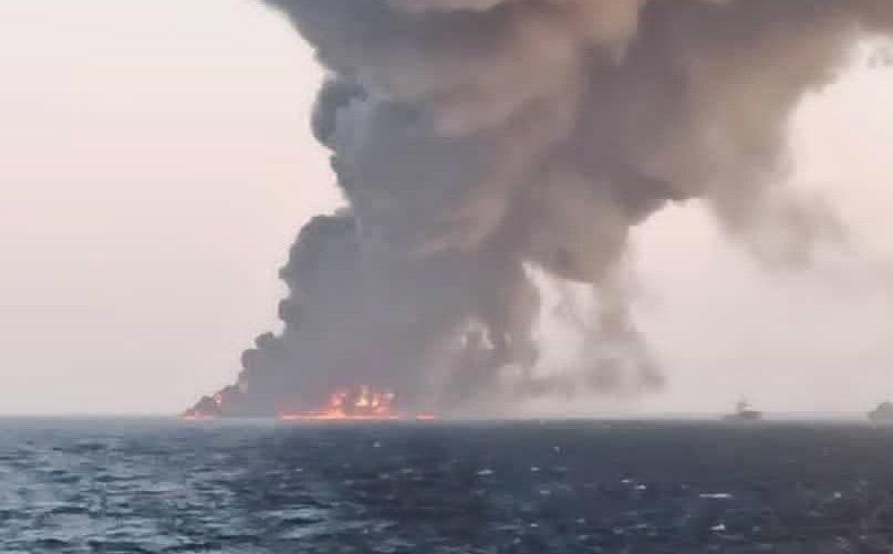 VIDEO. Cea mai mare navă a Iranului s-a scufundat, după ce a luat foc în Golful Oman