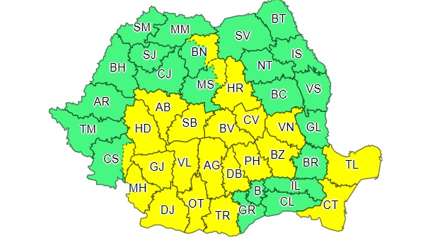 Nou cod galben de ploi torențiale pentru 22 de județe. Cum va fi vremea în Capitală
