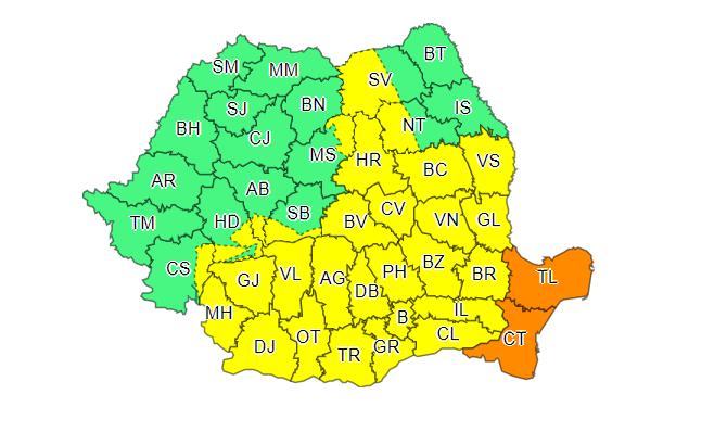 Avertizare ANM: Cod portocaliu de ploi abundente în Dobrogea. Cod galben în alte 29 de judeţe şi în Capitală