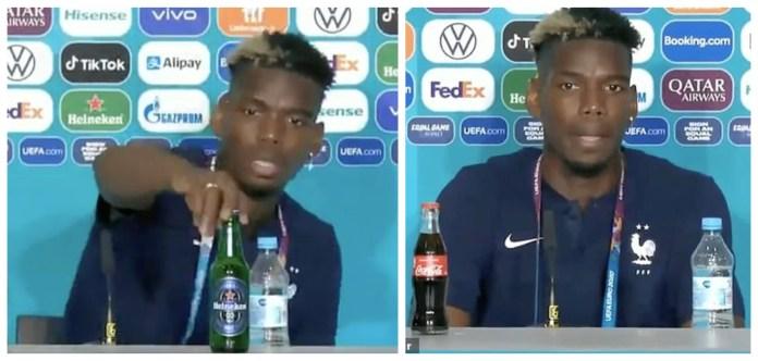 Paul Pogba, deranjat de o sticlă de bere în timpul unei conferințe de presă. VIDEO
