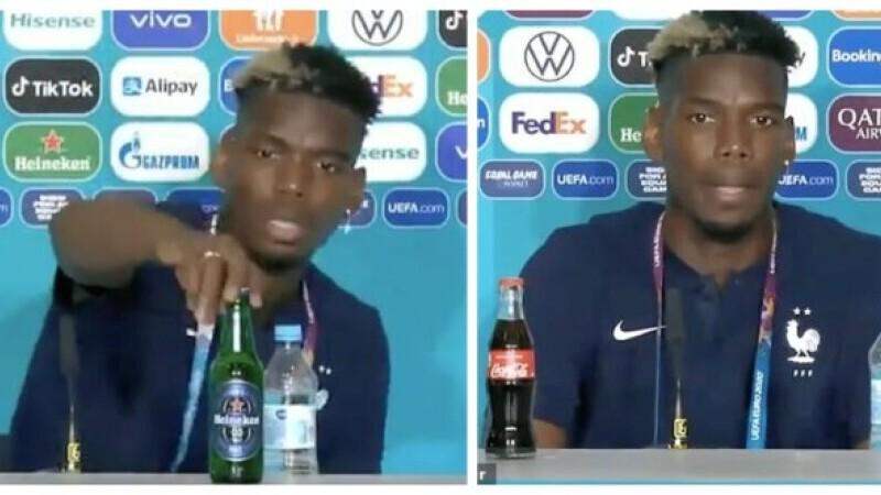 """Un nou """"caz Ronaldo"""" la EURO 2020. Ce a făcut Paul Pogba cu o sticlă de bere în timpul conferinței de presă"""