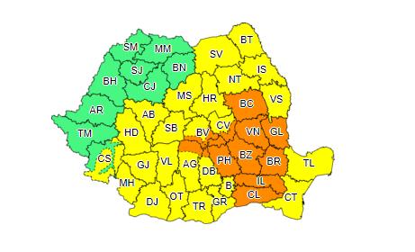 Aproape toată țara este sub Cod galben şi Cod portocaliu de ploi. Harta județelor afectate